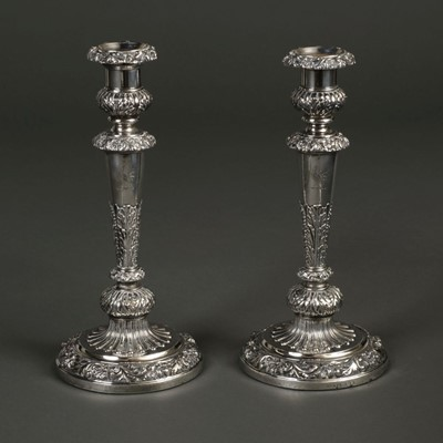 Lot 206 - Candlesticks. A pair of George III silver candlesticks