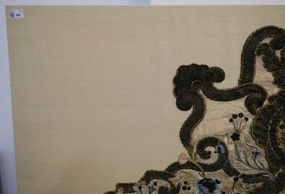 Lot 381 - Embroidered headboard. A fine rococo embroidered headboard, Italy: Piedmont, circa 1750