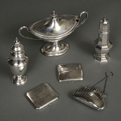 Lot 210 - Mixed Silver. A George V silver sugar caster, cigarette cases and other items