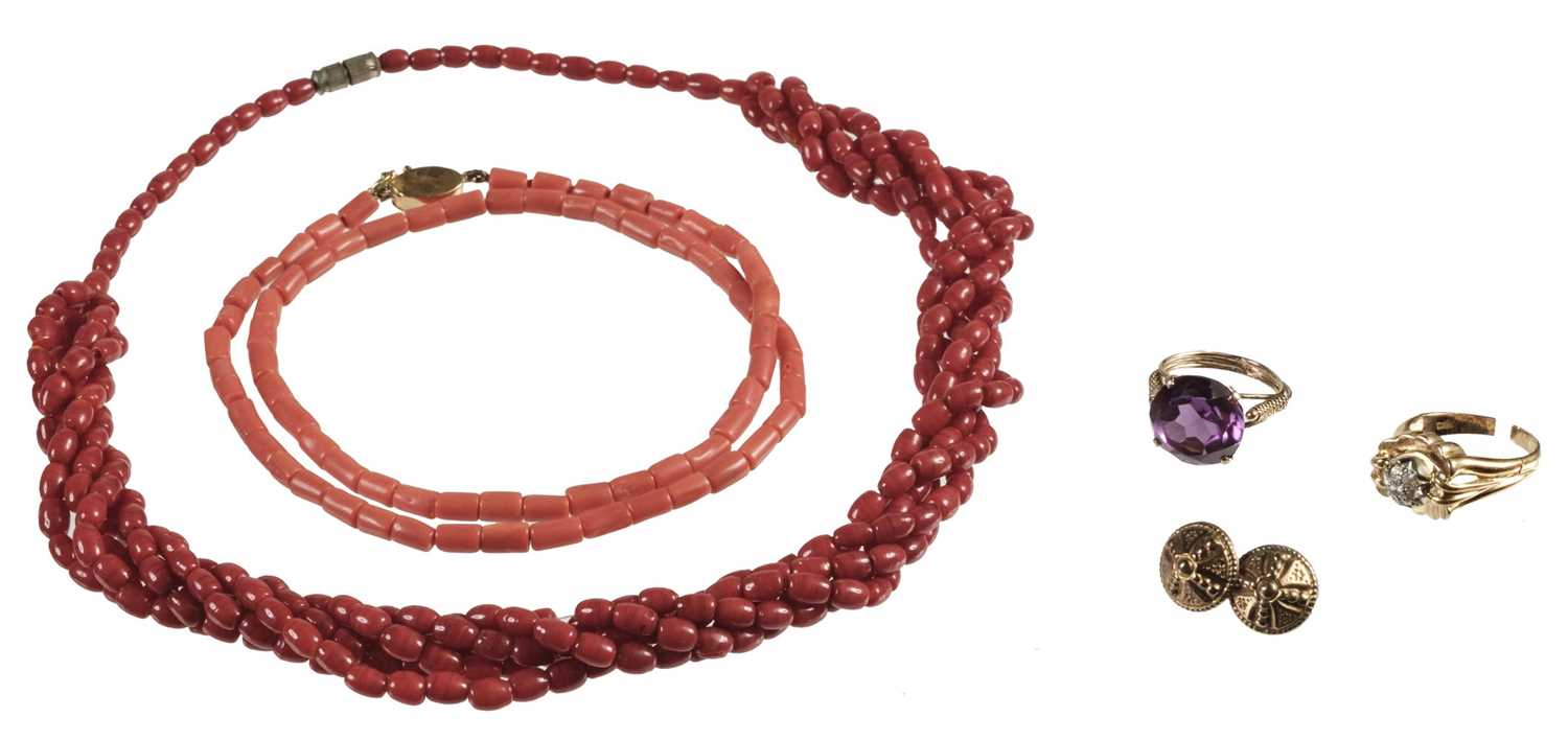 Lot 226 - Mixed Jewellery. Coral necklaces, gold rings and other items