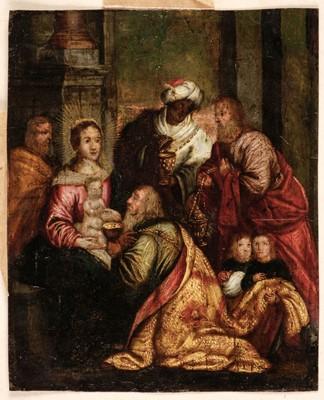 Lot 4 - Flemish 17th century School, Adoration of the Magi, oil on copper