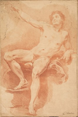 Lot 31 - Van Loo (Carle, 1705-1765). Academy study: Reclining male nude with raised arm