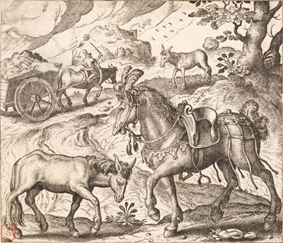 Lot 43 - Gheeraerts (Marcus, I). The Horse and the Ass & the Greedy bird-catcher, 1567