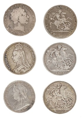 Lot 233 - Coins. George III and later silver crowns and other coins