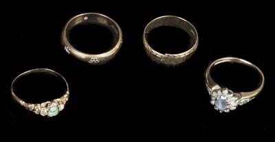 Lot 231 - Rings. Four 9ct gold dress rings