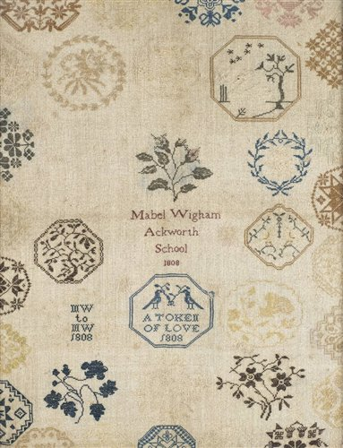 444 - A medallion sampler by Mabel Wigham, Ackworth School, 1808