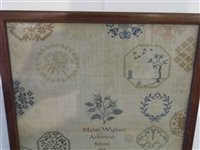 Lot 444-A medallion sampler by Mabel Wigham, Ackworth School, 1808